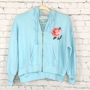 Wildfox Blue Thriving On Chaos Theo Hoodie XS NWT